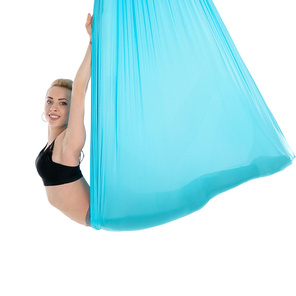 Tofern Aerial Yoga Hammock Kit 5.5 Yards Antigravity Trapeze Inversion Exercise Home Indoor Outdoor Yoga Silk Swing Sling Set with Hardware Ceiling Hooks Bolts 2 Extension Straps, Sky Blue by Tofern (Image #4)