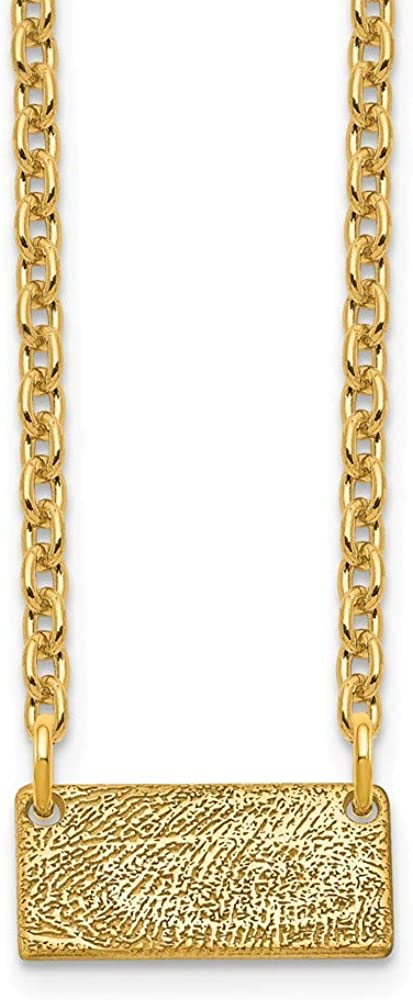 925 Sterling Silver Yellow Gold-Plated Short Fingerprint Pendant Necklace Charm Chain 18 Width = 12mm