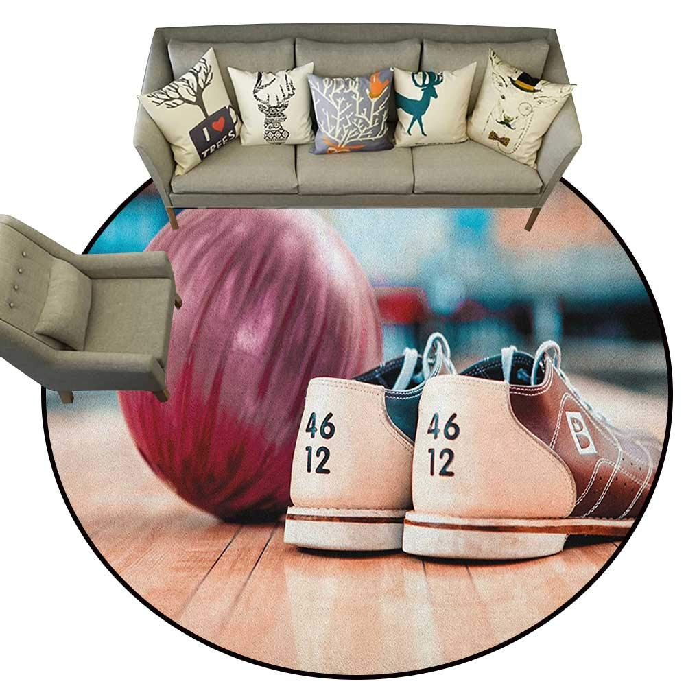 Bowling Party,Custom fit Floor mats Close Up Bowling Shoes with Purple Ball on an Alley Indoor Activity Hobby D66 Soft Area Children Baby Playmats