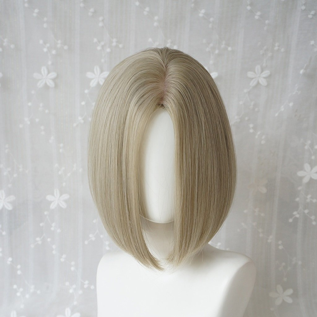 HUACANG Short Straight Hair Wigs Silver Lady Full Top Heat Resistant Daily Party Wigs, Straight Fluffy Bob Cosplay Lace Wigs