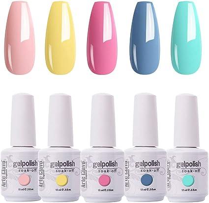 Amazon Com Arte Clavo 15ml Varnish Soak Off Uv Led Nail Gel Polish Nail Art Salon Set 506 Of 5 Colors Health Personal Care
