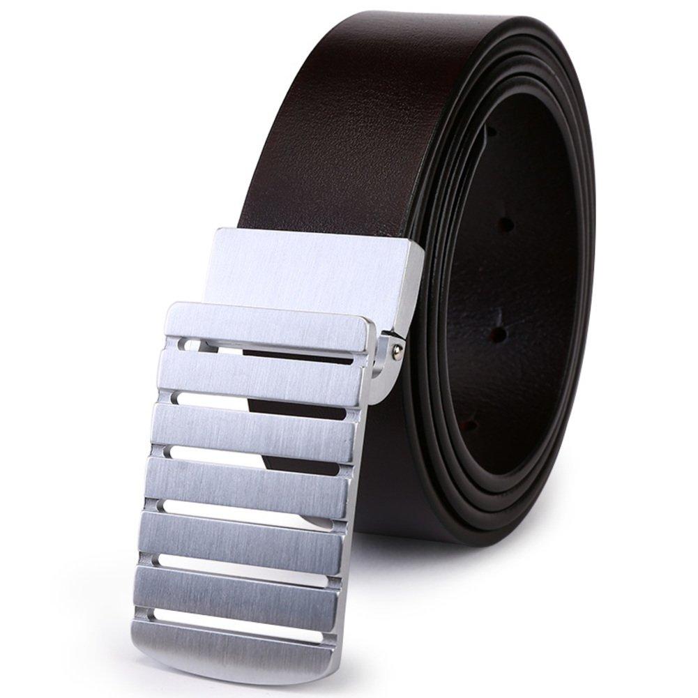 JIEJING Men's Decoration Belt,Copper Smooth buckles Belt Leisure Business Belt Youth Student Belt-dark brown 105cm(41inch)
