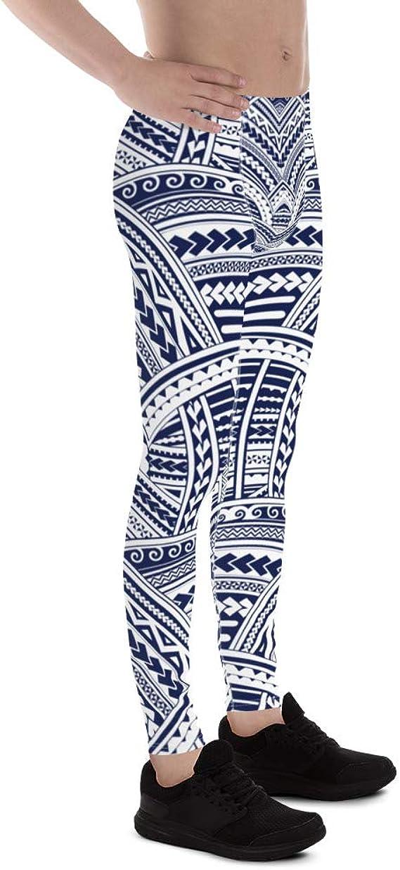 Printed Tribal Polynesian Maori Tattoo Pattern Meggings Ta Moko Mens Leggings