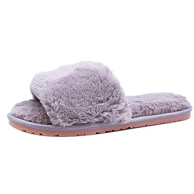 f95c63cad0bf6 HAKSIM Women s Classy Oppen Toe Indoor Cute Flat Memory Foam Fur Slippers  (5-6