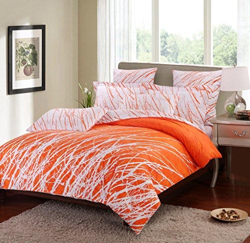 Swanson Beddings Tree Branches 3-Piece 100% Cotton Bedding Set: Duvet Cover and Two Pillow Shams (Orange-White, Queen) (Orange Bedding Set)