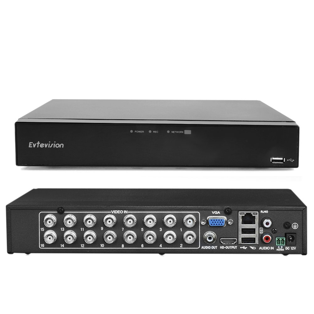 Evtevision 8CH Hybrid 5-en-1 1080N en temps réel CCTV Sécurité Enregistreur vidéo DVR Accès à distance QR Scan Motion Detection Alarm-Fits 1080P Caméra AHD / TVI / CVI / IP, caméra 960H (NO HDD)