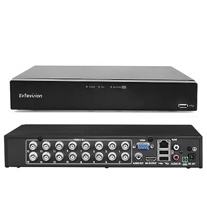 Evtevision 16CH Canales HD 1080N Grabador de Video Digital AHD DVR/ HVR/NVR,
