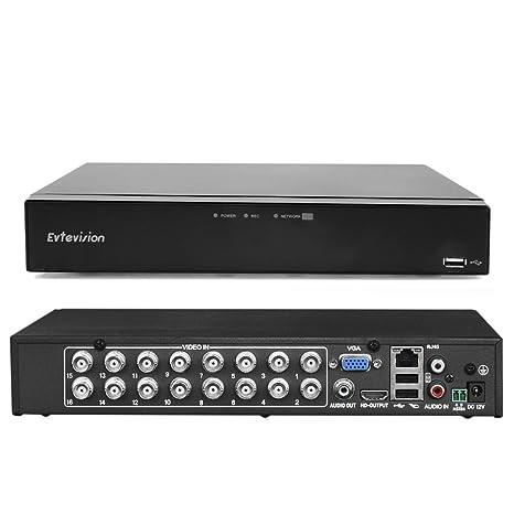 Evtevision 16CH Canales HD 1080N Grabador de Video Digital AHD DVR/HVR/NVR,HDMI P2P, Onvif, Android/iOS App, Detección de Movimiento, Email ...