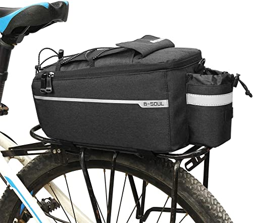 Mrinb Insulated Trunk Cooler Bag, Reflective Bicycle Rear Rack Trunk Bag, MTB Bike Pannier Bag, for Warm or Cold Items