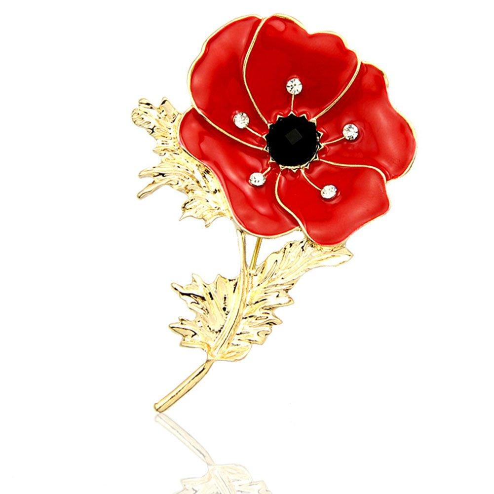 Lapel Pin Badge, Banquet Enamel Diamond Crystal Broach Large Red Poppy Flower Brooch by Cyclamen9