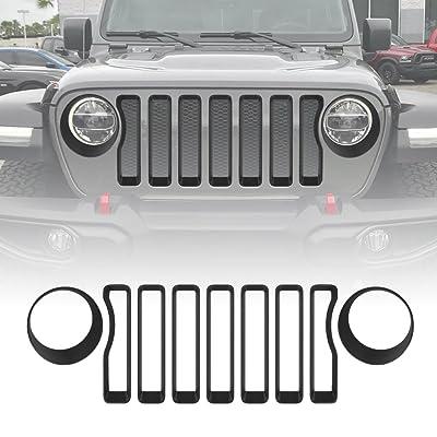 Matt Black Front Grille Grill Inserts & Headlight Covers Trim for Jeep Wrangler JL Sport/Sport S 2020 2020: Automotive