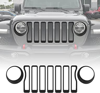 Headlight Bezel Trim Cover For 2018 Jeep Wrangler JL Black Front Grill Insert