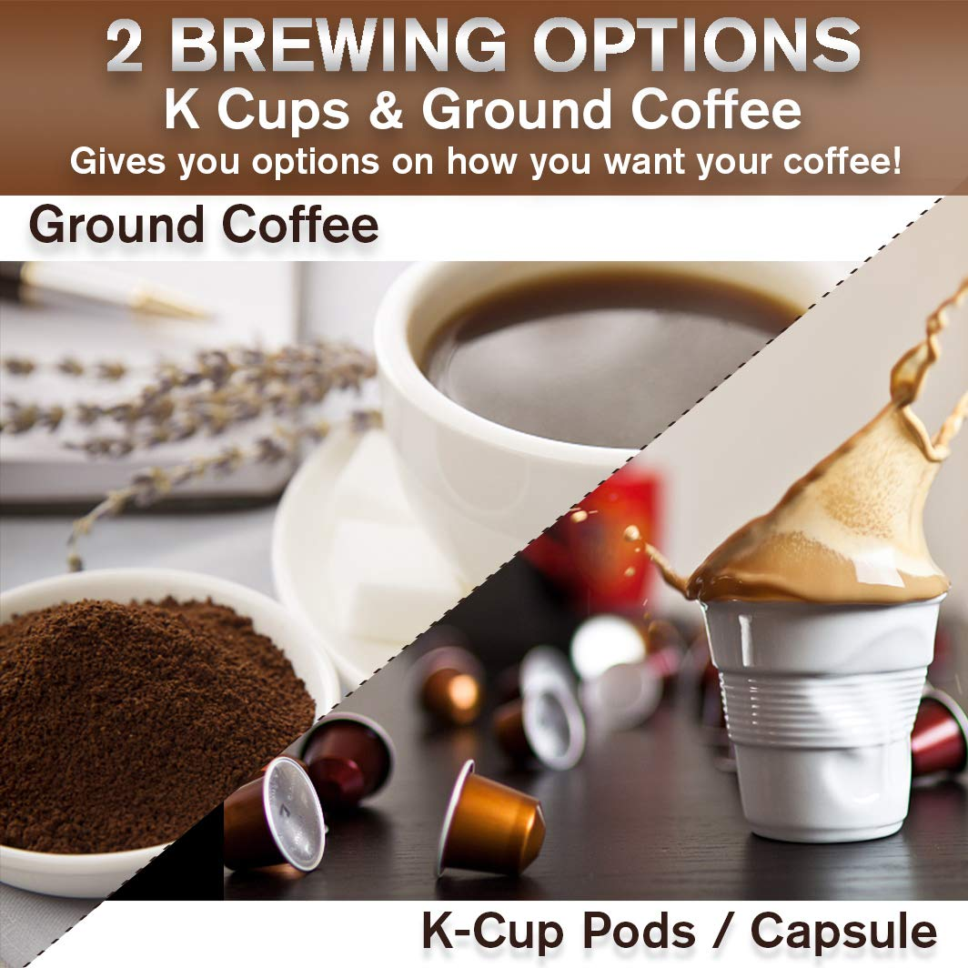 Single Serve Coffee Maker for K Cup Pod and Ground Coffee, Mini Coffee Pot for Fast Brewing, Compact Design Thermal Drip Instant Coffee Machine with Brew Strength Control and Self Cleaning Function