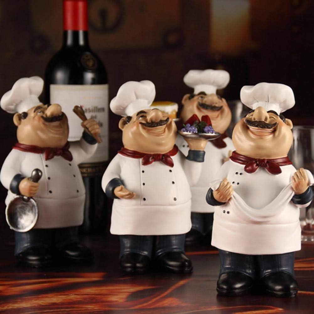 Resina Chef Ornamento Estatua Modelo Artesan/ías Decoraci/ón Bar Cafeter/ía Cuque 4pcs Resina Chef Figuras Ornamento
