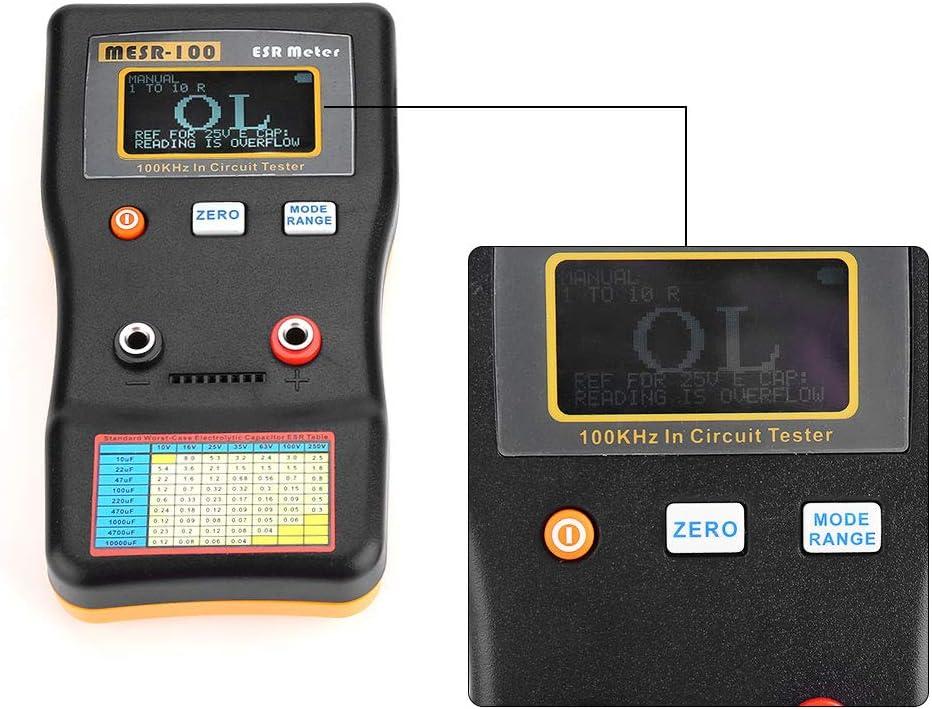 Akozon MESR-100 ESR Capacitance Meter Auto Ranging in Circuit Tester Low Ohm Professional ESR Resistance Capacitance Meter