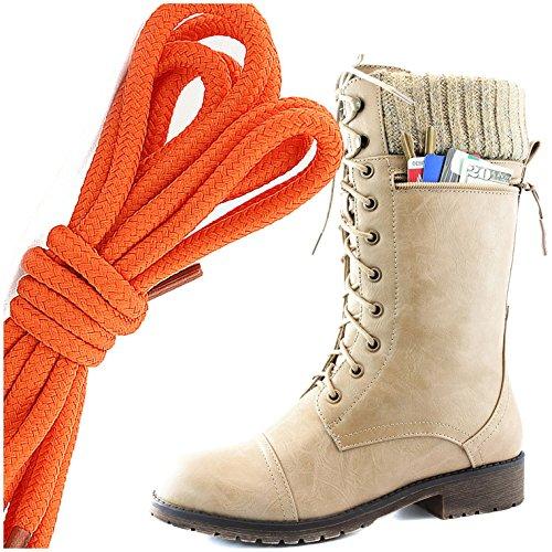 Dailyshoes Womens Style De Combat Lacets Cheville Bottine Bout Rond Militaire Knit Carte De Crédit Couteau Argent Poche Portefeuille, Orange Beige Pu