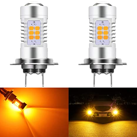 LED 80W H7 Orange Amber Two Bulbs Fog Light Replacement Lamp Plug Play Fit
