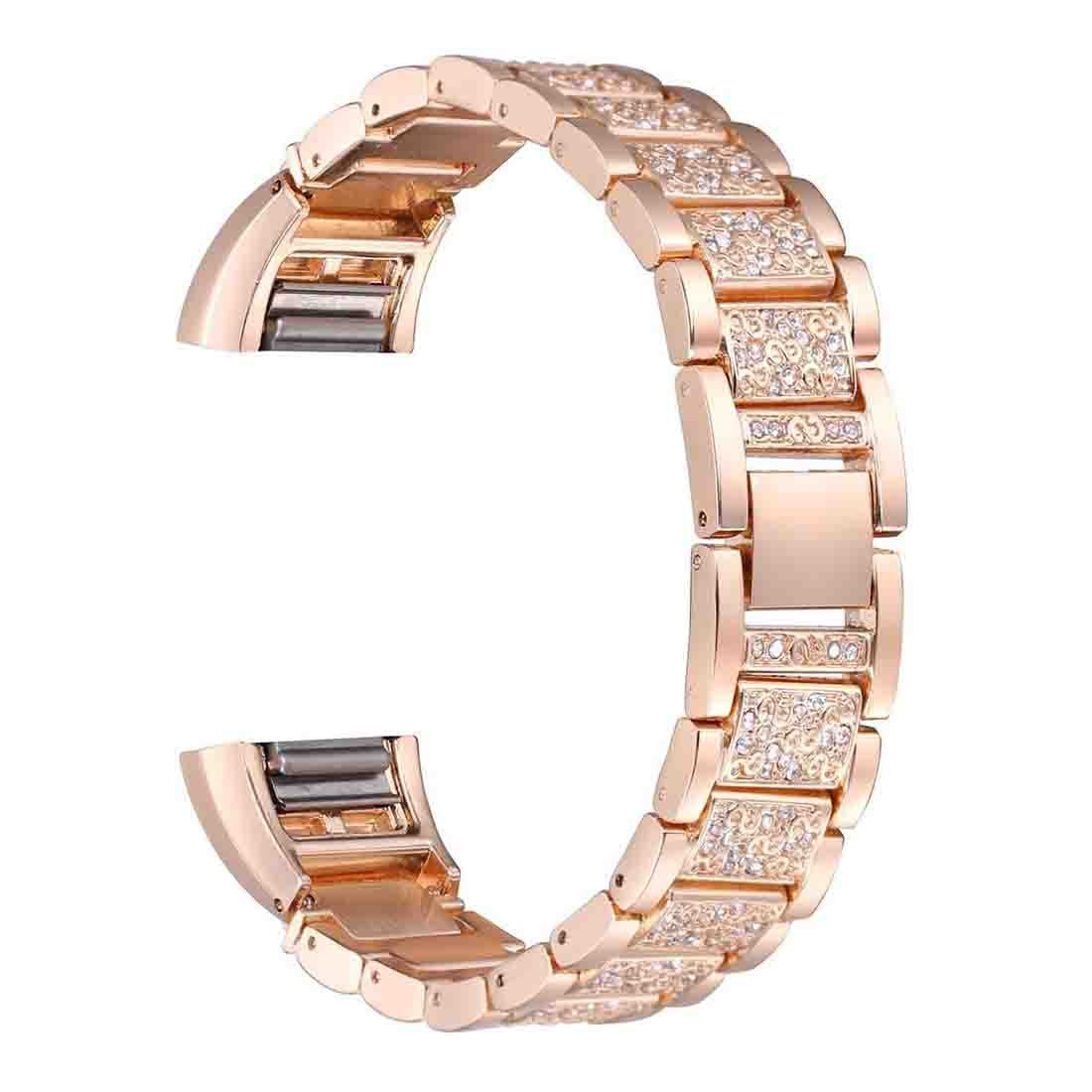 Watch Band for Fitbit Charge 2,Crystal Stainless Steel Watch Bands Wrist Strap Bracelet Replacement (Rose Gold Color Plated)