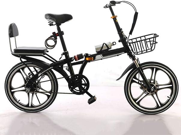Bici Urbana Bicicleta For Mujer De 20 Pulgadas Ruedas, Bicicleta Plegable Con Soporte For Botella De Alambre De Acero Cesta Y Agua Portátil De Bici For Los Estudiantes, Los Trabajadores De Oficina: