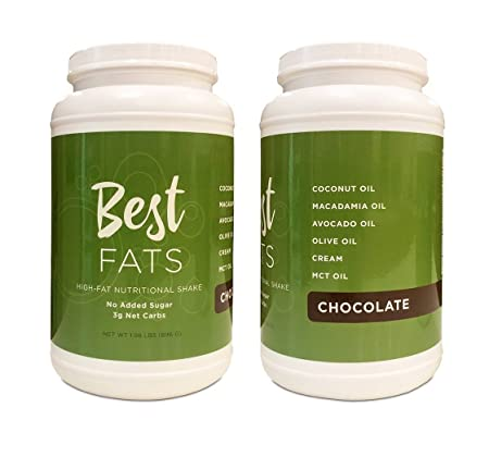 BEST FATS High-Fat Nutritional Shake – Low Carb Protein Powder with Healthy Fats – Perfect for Keto, Ketosis, Ketogenic, Low Insulin Diets – Meal Replacement Shake, Just Add Water Chocolate