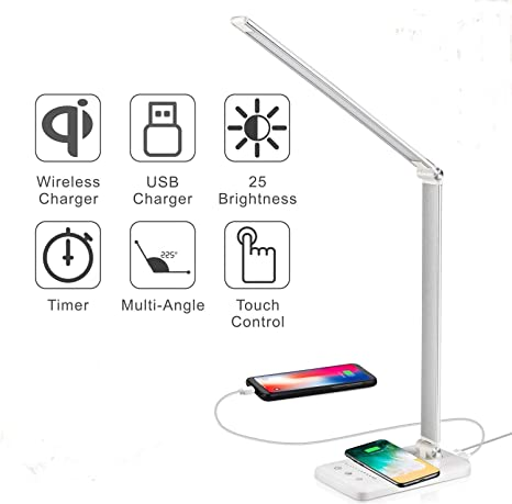 USB Charger LED Desk Table Reading Lamp Dimmable QI Touch Wireless Phone Light