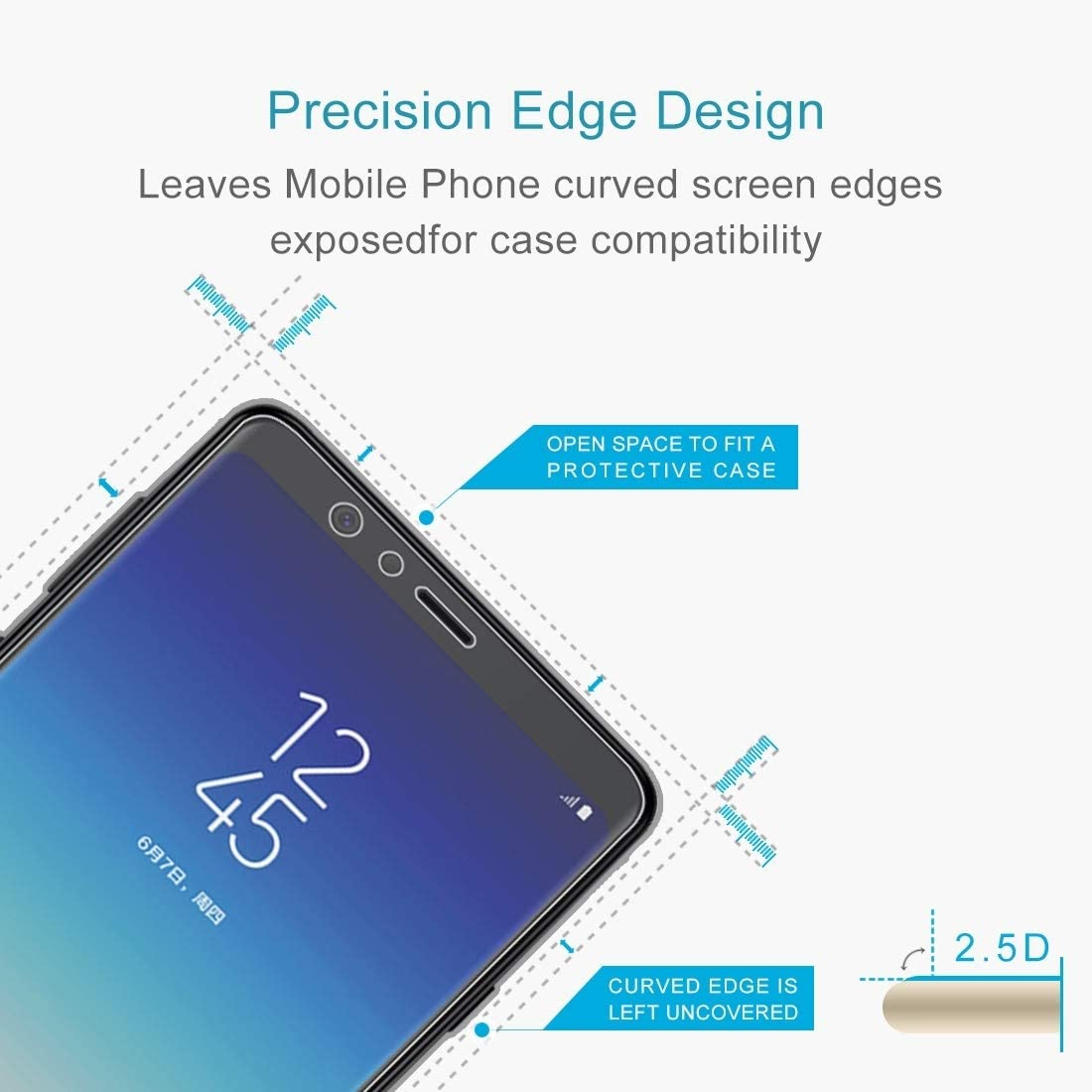 HUFAN 100 PCS 0.26mm 9H 2.5D Tempered Glass Film for Galaxy A9 Star Phone Glass Film
