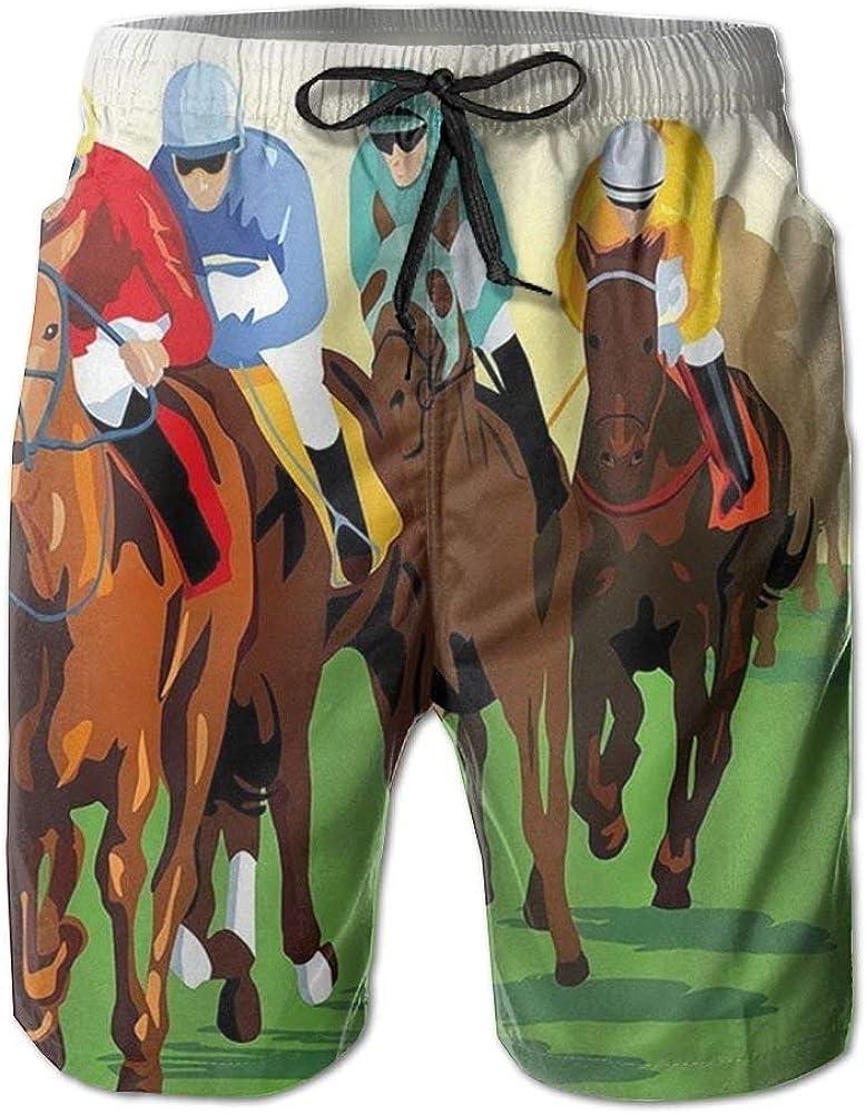Jhonangel Horse Racing Mens Boardshorts Boardshorts Pantalones Cortos de fútbol de Secado rápido Mens Swim Trunks