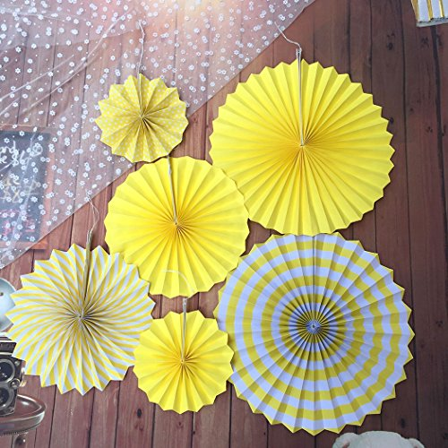 FunPa 6Pcs Hanging Paper Fans Craft Handmade Round Shaped Hanging Ornaments for Home