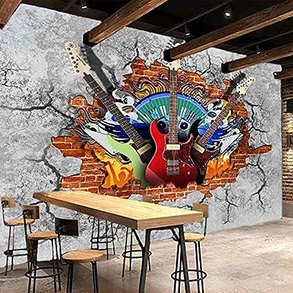 Shukun Papel pintado Guitarra 3D Rock Graffiti Arte Pared de Ladrillo Roto Pintura Ktv Bar Herramientas