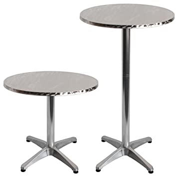 Adjustable Aluminium Bistro Table / Bar Table With Round 600mm Diameter Stainless  Steel Table Top