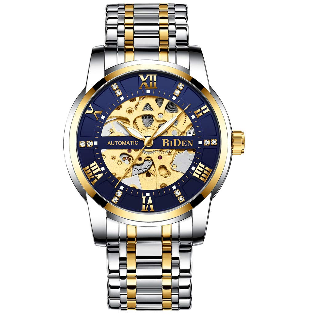 Mechanical Watch for Men - Fashion Hollow Roman Scale with Drill Dial Steel Belt Men's Mechanical Watch for Father Men Kids Youth Teens Boyfriend Lover's Birthday Gift