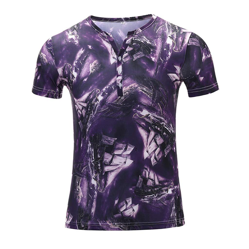 Men's Short Sleeve Hawaiian Tropical Shirt Summer Aloha Floral Print Casual Party Button Down Shirts Purple by Donci T Shirt