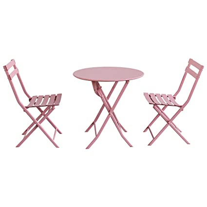 Amazon.com: Giantex 3 PC Folding Bistro-Style Patio Table and Chair ...