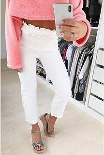 AKDYH Pantaloni da Donna Pantaloni Donna Fondo Sash Ruffle Pantaloni A Vita Media Pantaloni Estivi Donna