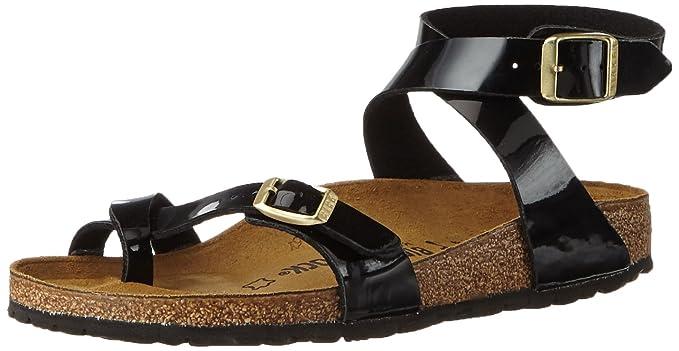 08d57581de6 Birkenstock Womens Yara Birko-Flor Sandals, Color:Patent Black;Size ...