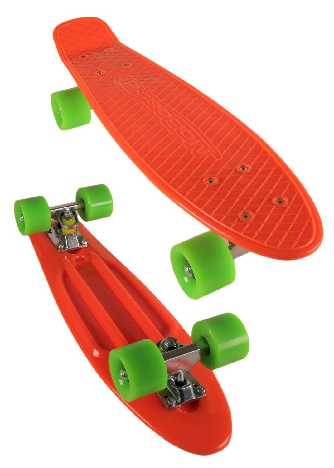 MoBoard Graphic Complete Skateboard | Pro/Beginner | 22 inch Vintage Style with Interchangeable Wheels | (Orange-Green)