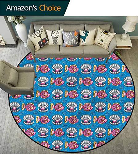 RUGSMAT Pearls Round Rug Kid Carpet,Dotted Seashells Fish Floor Mat Home Decor Diameter-39