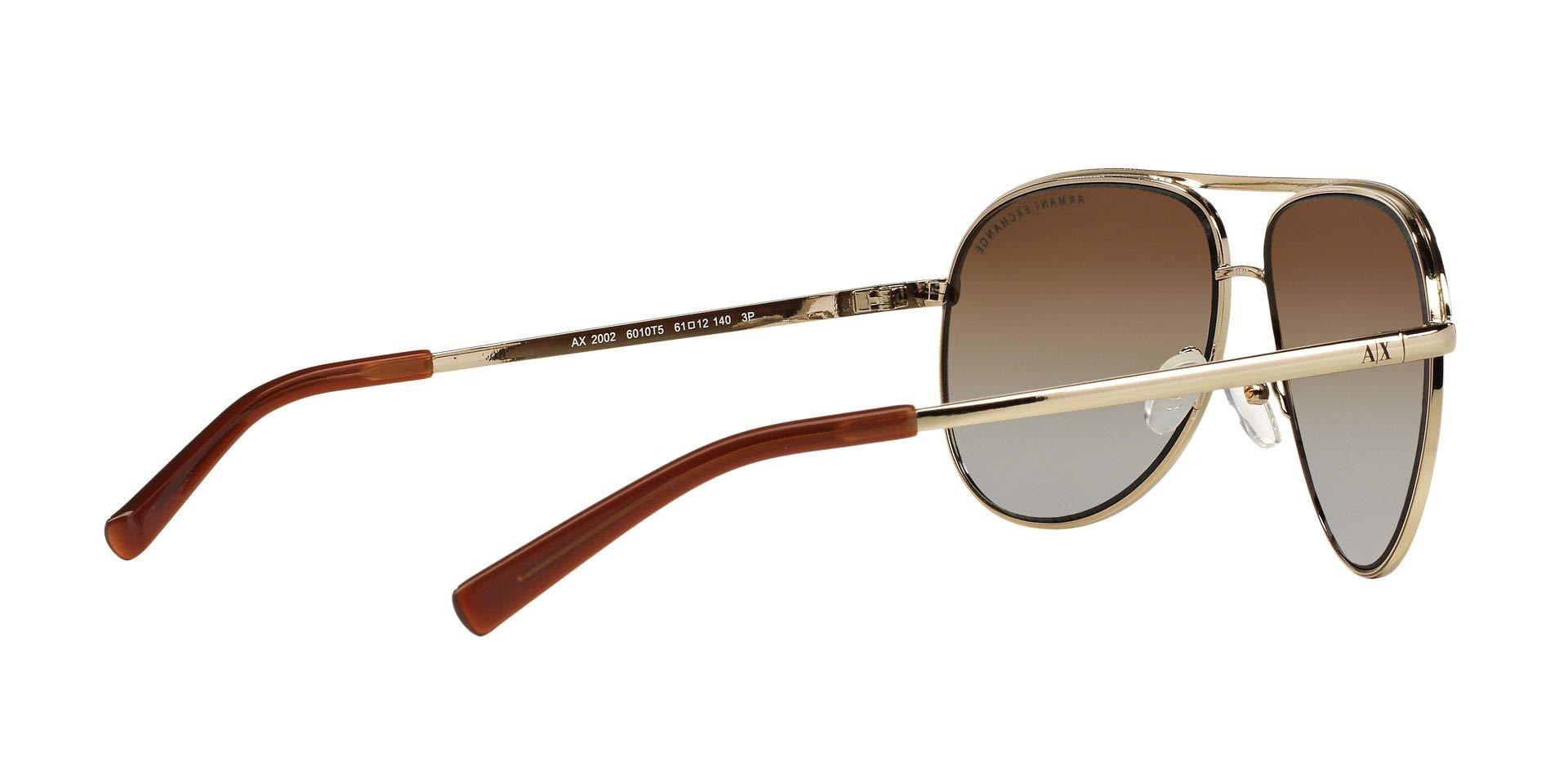 Armani Exchange Metal Unisex Polarized Aviator Sunglasses, Light Gold/Dark Brown, 61 mm by A|X Armani Exchange (Image #10)
