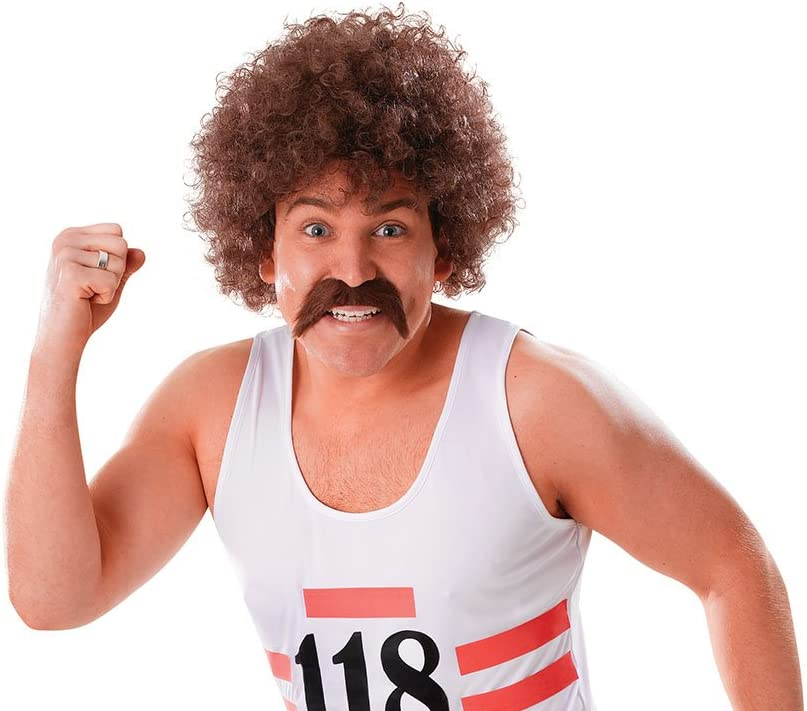 Moustache Hair Curly Afro wig Fancy Dress Mens Cosplay 118 118 design Wig