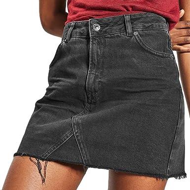 70d297dcb2 BAOHOKE Women's High Waist Distressed Ripped a-Line Denim Skirts,Casual  Pocket Mini Jean