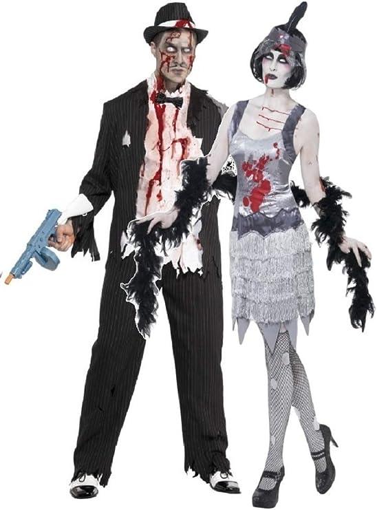 Par Hombre & Mujer Disfraz Zombie Gangster y Flapper Moll mobster ...