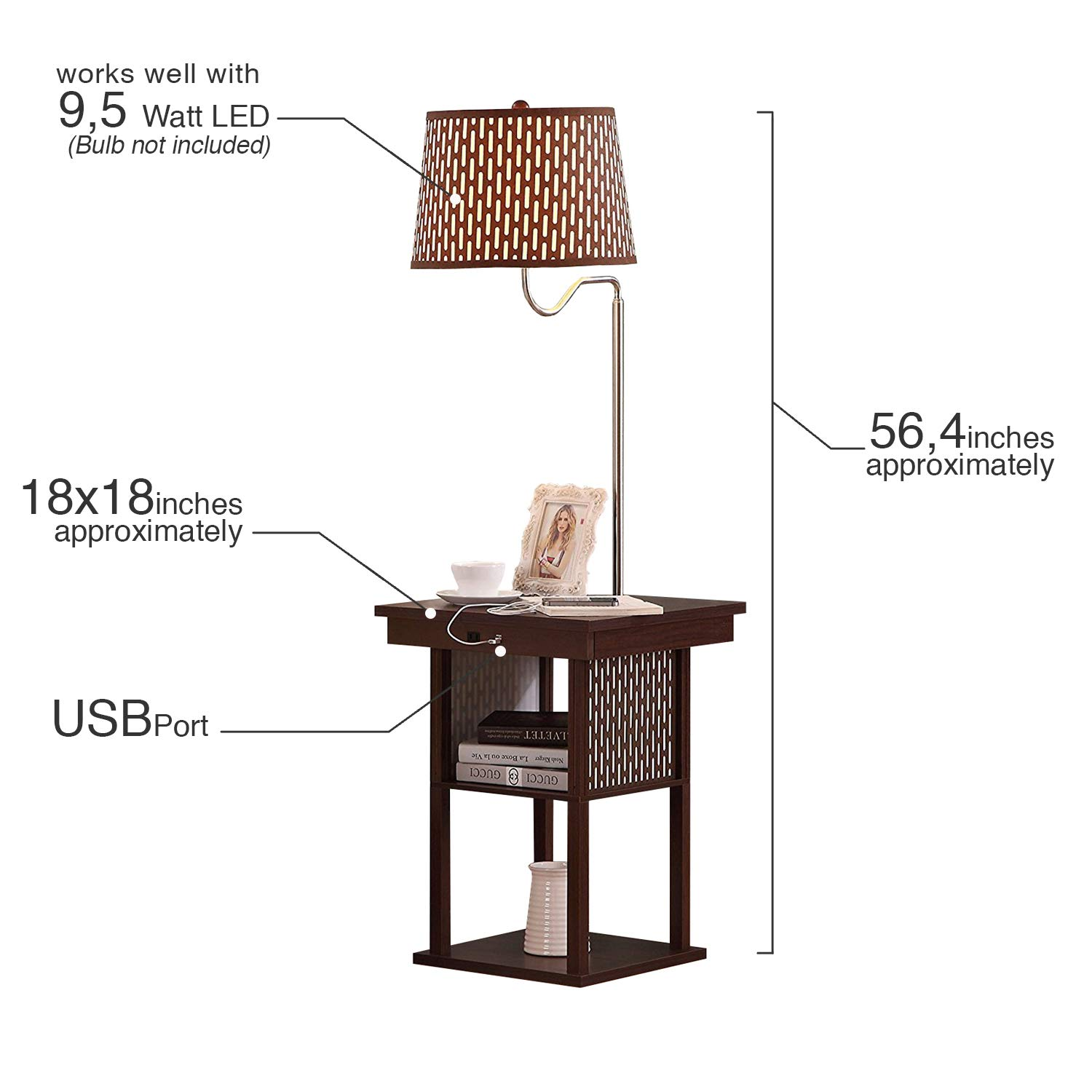 Brightech Madison Mid Century Modern Nightstand Shelves Usb Nook Cable Wiring Diagram Port Combination Bedside Table With Led Floor Lamp Attached End For Living Room