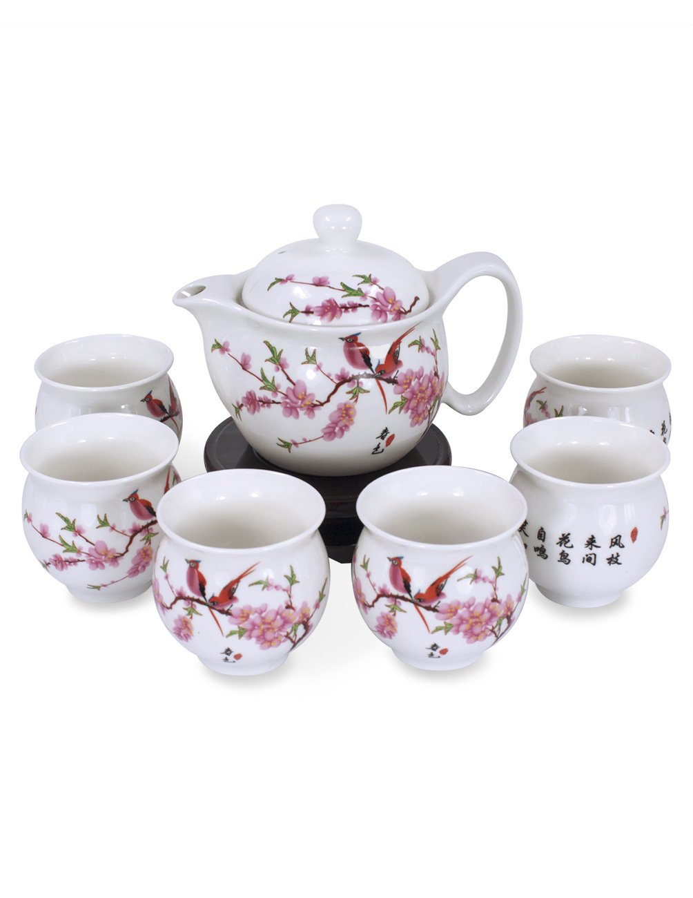 Dahlia Porcelain Peach Blossom Tea Set (Tea Pot w. Infuser + 6 Dual Layer Tea Cups) in Gift Box