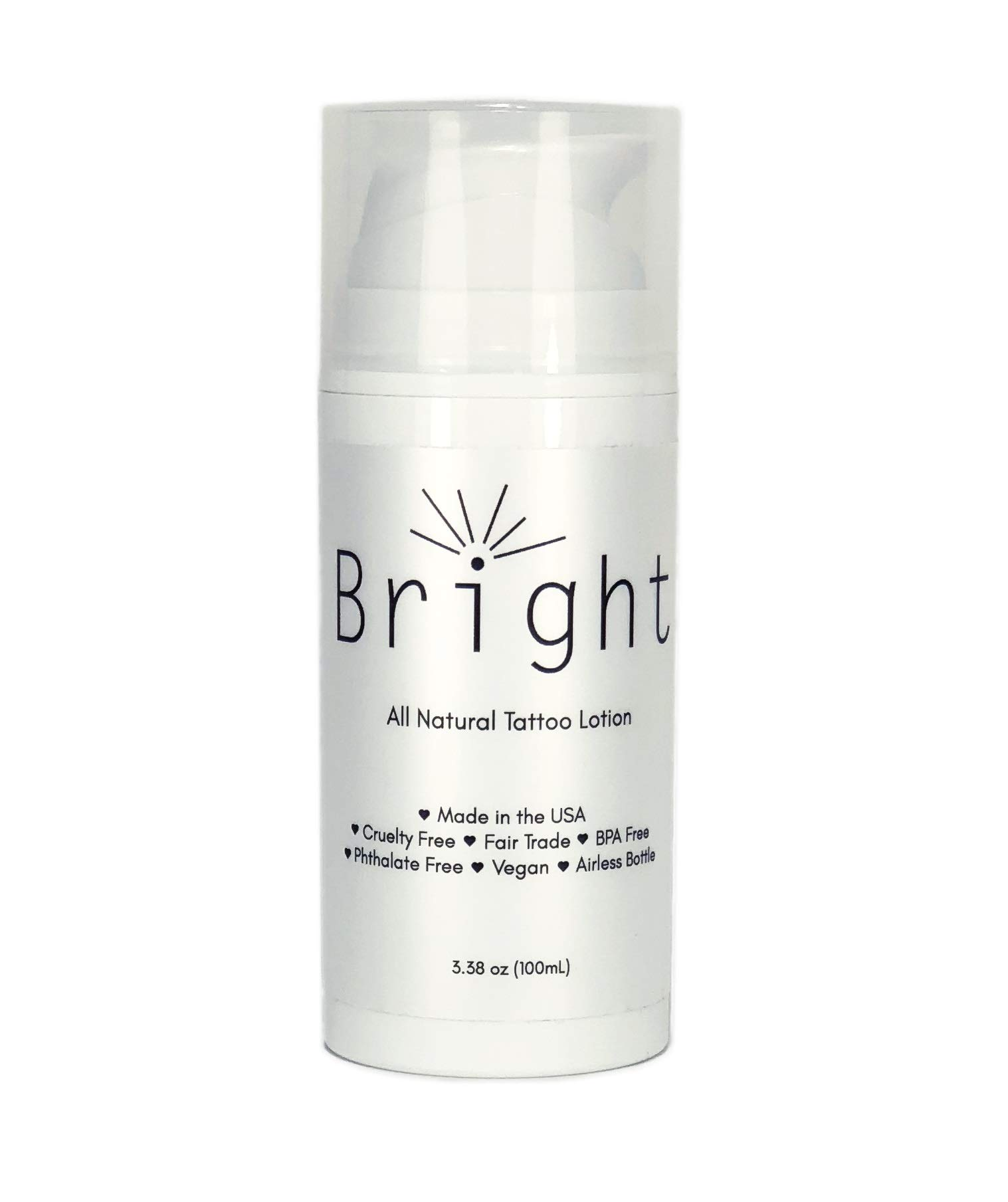 Bright Aftercare All Natural Tattoo & Permanent Cosmetics and Microblading Lotion and Moisturizer Product, Water Based for Tattoo Protectant and Enhancing Aftercare, Vegan Friendly and Cruelty Free by Bright Aftercare