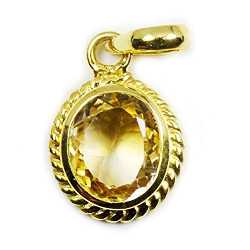 Jewelryonclick Genuine Oval Citrine 4 carat Copper Gold Plated Birthstone Pendant Charms