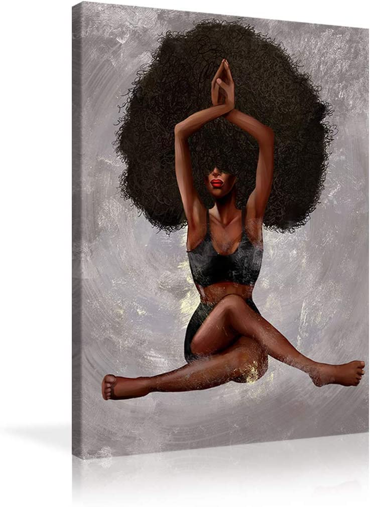 Urttiiyy African American Canvas Wall Art Black Curly Hair Sexy Woman Yoga Paintings Beauty Sexy Poster Black Art Afro Girl Wall Decor for Home Bedroom Framed Ready to Hang - 24''x36''