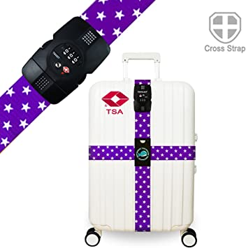Purple Travelkin Luggage Straps TSA Approved Lock Long Cross Strap Adjustable Suitcase Belt with Travel Tags Accessories
