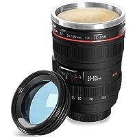 Taza de café, Taza de la lente con tapa Taza de Acero Inoxidable taza del viaje de la cámara para café, leche,té y agua.