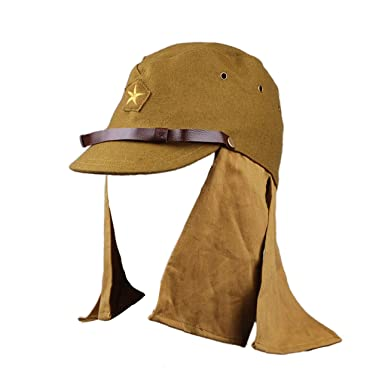 1ae0a806018 Amazon.com  Heerpoint Reproduction Ww2 Japanese Army Soldier Wool Cap Hat  with Neck Flap L  Clothing