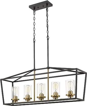 Emliviar Modern 5 Light Kitchen Island Pendant Light Fixture Linear Pendant Lighting Black And Gold Finish With Clear Glass Shade P3033 5lp Amazon Co Uk Lighting